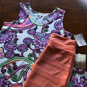 Lularoe Perfect Tank & Cassie Neon Size S NWT